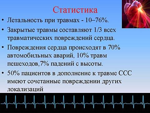 Травмы сердца: статистика